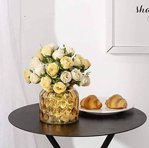 LLSTRIVE Kunstroos met vaas, kunstbloem, nepbloem, tafelbloem, huismeubels, verjaardagscadeau, geel
