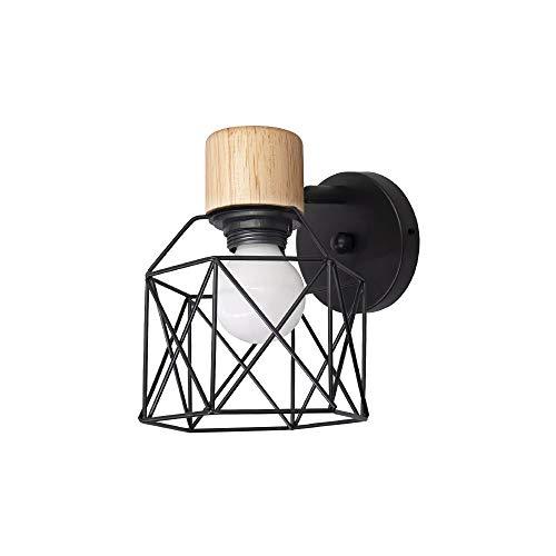 Apliques de pared modernos BYX con bombilla E27 6000K, aplique de pared negro ajustable con decoración Soporte de madera para sala de estar Dormitorio Pasillo Iluminación nocturna