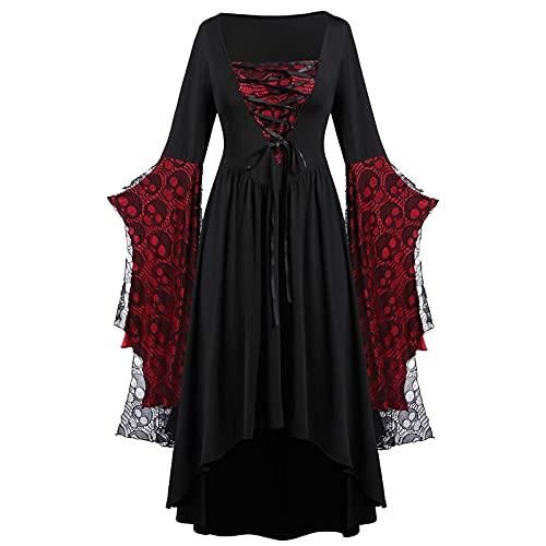 SumLeiter Damen Mittelalter Kleid/langarmshirt Gothic Halloween-Kleid/tunika, Steampunk Kleid Gitter A-Line Partykleider Karneval Party Halloween...