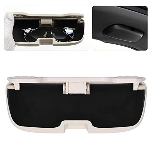 Organizador de visera para coche, estuche para gafas de coche, estuche para gafas de sol para coche, 8,3 x 3,1 x 1,6 pulgadas, estuche para gafas con visera para coche, para asa de mano(Beige)
