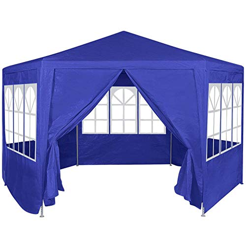 2x2m Pop Up Gazebo with Sides Heavy Duty Outdoor Folding Canopy Tent, Garden Backyard Patio Marquee Awning Shelter for Party Wedding Commercial Grade Market Stall + Handbag, White/Blue【UK STOCK】