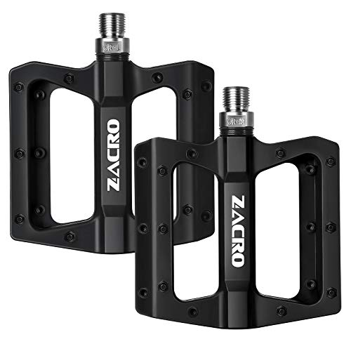 Zacro Mountain Bike Pedal Nylon BMX Pedals 9/16' Raceface Chester Pedals Platform Bicycle Flat Pedals - Black