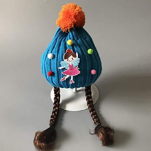 Bonnet Tricoté Pour Bébé, Chapeau, Perruque, Chapeau, Fille, Chapeau De Laine Épaisse, Chapeau De Ski Chaud Pour La Mode D'Hiver, 2-8 Ans (Bonnet Élastique Fait Main), Taille Unique, Princesse Bleue