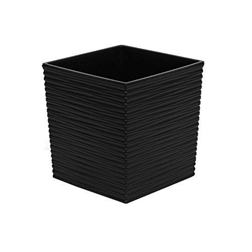 Pot de fleurs en plastique sculpté Juka 30 cm et bac d'interieur, noir