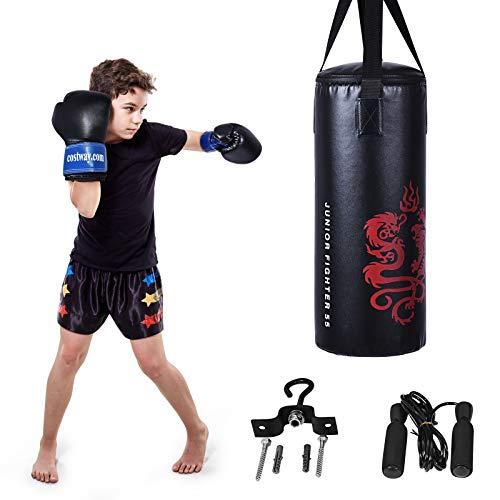 COSTWAY 10KG Boxsack-Set mit 8oz Boxhandschuhen und Springseil, Punchingsack für Kinder und Erwachsene, Punching Bag, Boxing Bag inkl. Deckenhaken zur Montage