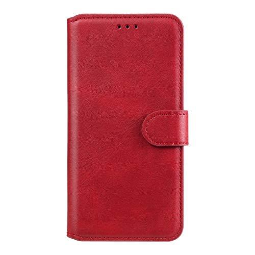 Byr883onJa Funda protectora para Huawei P Smart 2020 Classic Ternera Textura PU+TPU Horizontal Flip Funda de piel, con soporte y ranuras para tarjetas y teléfono billetera (color rojo)