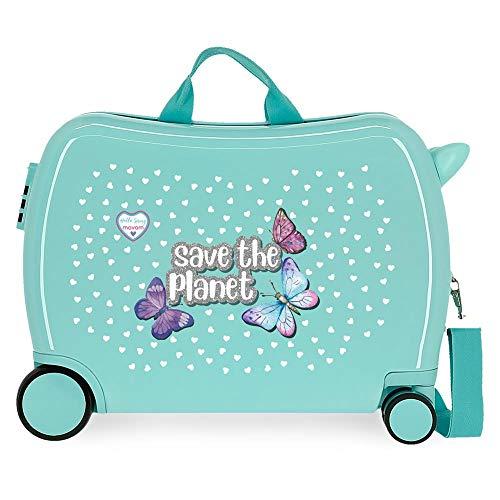 Enso Save The Planet Maleta Infantil Verde 50x39x20 cms Rígida ABS Cierre combinación 34L 2,1Kgs 4 Ruedas Equipaje de Mano