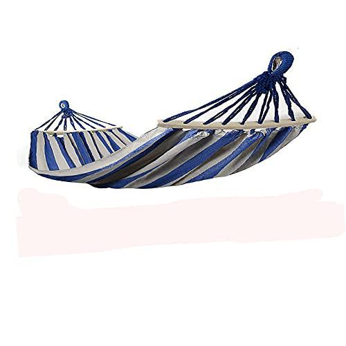 HENG FENG Hamaca de Lona de Algodón 220 * 150 cm con Varillas de Madera de 80 cm y Almohada Portátil para Jardines Interiores y Exteriores Carga de Camping hasta 200 kgs Azul y Blanco