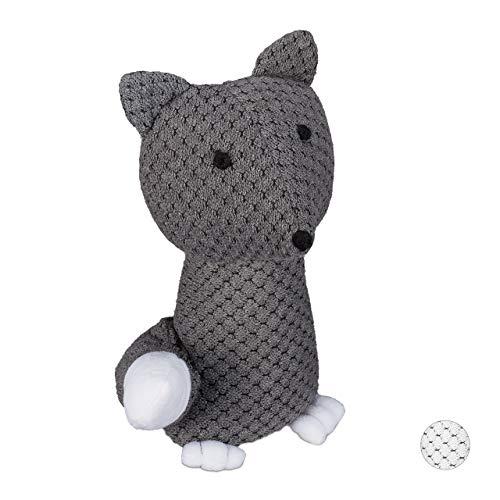 Relaxdays Türstopper Fuchs, dekorativer Türpuffer, für Boden, stehend, gefüllt, innen, 1 kg, Stoff Türsandsack, grau