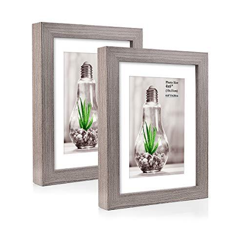 Metrekey 2er Set Bilderrahmen 15x20 cm Grau Holzmaserung aus MDF für Bildformate 10x15 cm mit Passepartout,Wandhängend oder Freistehen
