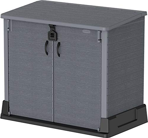 Duramax Cedargrain StoreAway 850L Plastic Garden Storage Shed - Outdoor Storage Bike Shed – Durable & Strong Construction – Ideal for Tools, Bikes, BBQs & 2x 120L Garbage Bins, 130 x 74 x 110 cm, Grey