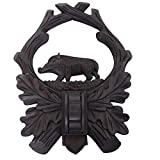 GTK - Geweihe & Trophäen KRUMHOLZ komplett HANDGEARBEITET geschnitztes Trophäenschild für Wildschwein Hauer in schwarz/sehr dunkel
