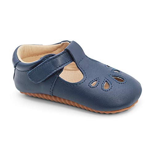 Dotty Fish Premium Leder Babyschuhe für Mädchen. rutschfeste erste Wanderschuhe. klassisch Marinefarbene T-bar Schuhe. (EU 21)