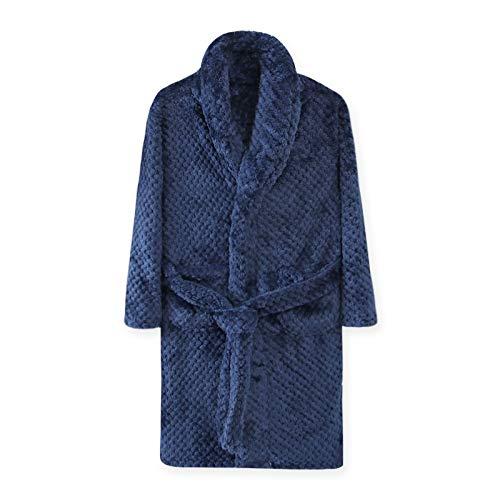 Albornoz de 4 a 18 años de otoño e invierno para niños, bata de baño para niños, cálida y suave pijama para niña y adolescente de franela con capucha (color: azul oscuro, tamaño de niño: 4T)