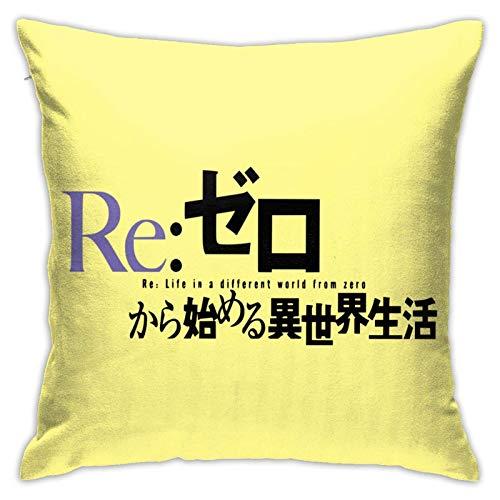 Anime-Re-Zero: Comenzando la Vida en Otro Mundo Cosplay Rem Kara Hajimeru Isekai Seikatsu Merch Funda de Almohada Generalduty Fundas de Almohada (18x18 Pulgadas)