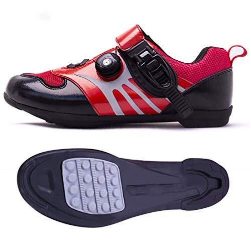 ZDERET Zapatillas De Ciclismo Antideslizantes Transpirables Color Sinfónico Carretera Zapatillas De Bicicleta De Montaña Deportes Giratorias Hebilla De Ajuste Fino Reflectante TPU Unisex,Rojo,41