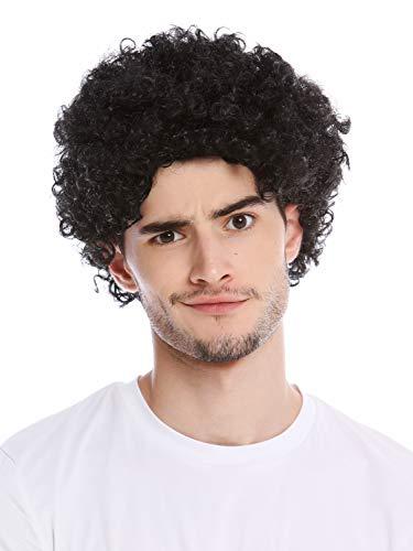 WIG ME UP - PW0186-P103 Perücke Herren Damen Karneval kurz Kraus gelockt Locken kurzer Afro schwarz Mopp