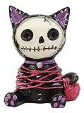 Ebros Small Furry Bones Black and Purple Voodoo Mao Cat in Yarn Bondage Skeleton Figurine 2.25