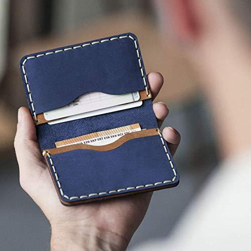 Azul y marrón cartera de piel. Apta para tarjeta de crédito, efectivo o carnet de identidad. Bolsa rústica unisex.