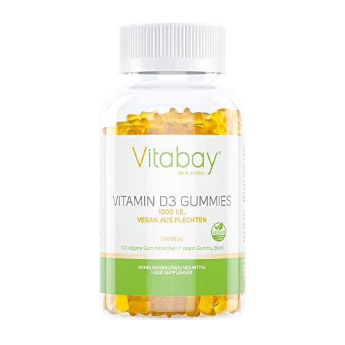 Vitamin D3 1000 IE/IU Gummibärchen - Orange Geschmack - 100{f1f9c07074346be2c3e2ddc306eafa0828a1832e7e21e5cb55eca54e3fc641a7} vegan aus Flechten ohne Gelatine (120 vegane Gummies)