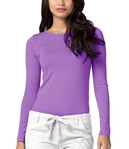 Adar Underscrubs for Women - Long Sleeve Underscrub Comfort Tee - 2900 - Lavender - S