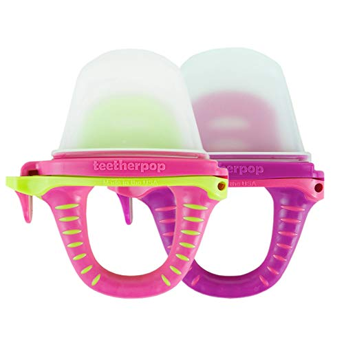 teetherpop 2 Pack Fillable, Freezable Baby Teether for Breastmilk, Pures, Water, Smoothies, Juice & More (Baby Teether is USA Made & BPA Free) (Fuschiapink/PinkLimon)