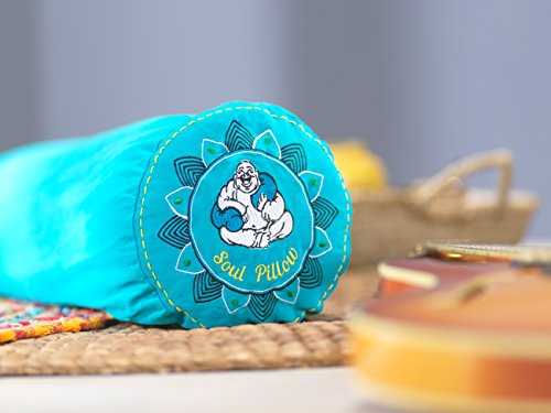 Soul Pillow Rollo 130 x 22 cm | Cojín para dormir de lado | Cojín de meditación | Cojín de relajación | Incluye funda: azul
