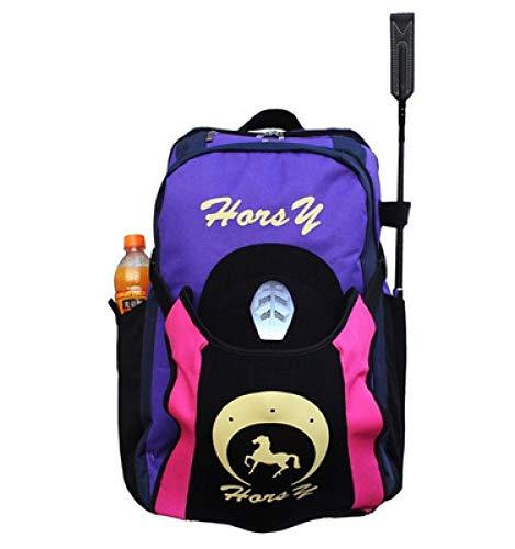 qxj Equipo De Equitación Bolsa De Almacenamiento Botas De Equitación Profesionales Bolsa De Casco Mochila Ecuestre con Compartimiento para Sombreros,Purple-Children'sEdition