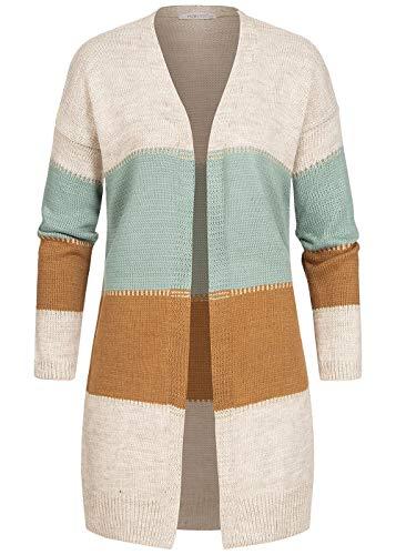Hailys Damen Colorblock Lurex Cardigan Streifen Muster offener Schnitt beige Marl