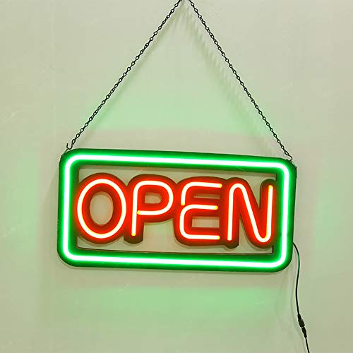 LITI Insegna Luminosa insegne Luminose a LED con Scritta Aperto vetrina Negozio,Green Light,ES