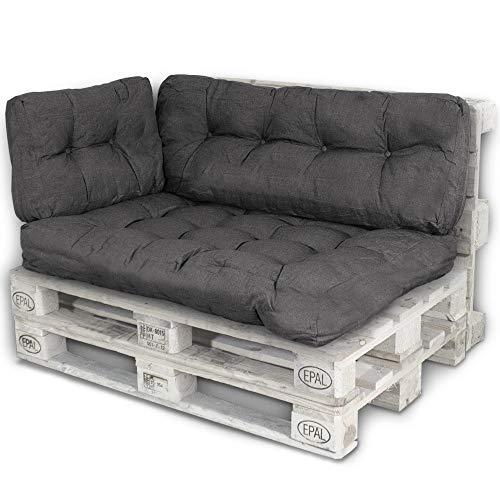 Bobo Palettenkissen Palettenauflagen Sitzkissen Rückenlehne Kissen Palette Polster Sofa Couch (Set Sitzfläche + Rückenteil + Seitenteil, Schwarz)