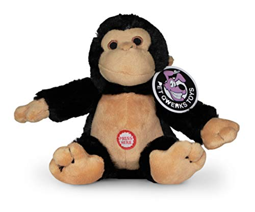 Pet Qwerks Monkey Squeaky Sound Plush - Strong & Durable Stuffed Pet Toy with Funny Squeaks for Small, Medium, Large Dogs & Puppies (P177)