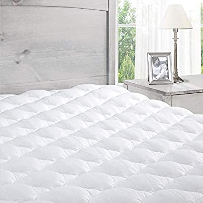 Pillowtop Mattress Topper with Fitted Skirt - Extra Plush Mattress Pad Found in Marriott Hotels - Removable Pillowtop Mattress Pad - Queen Size