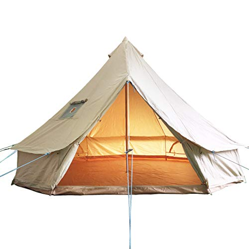 Bell Tent Waterproof Canvas Glamping Bell Tents with Fire Repellent, Large Outside Tents All 4 Season Camping Yurt Style Tent (13.3FT(Water Repellent))