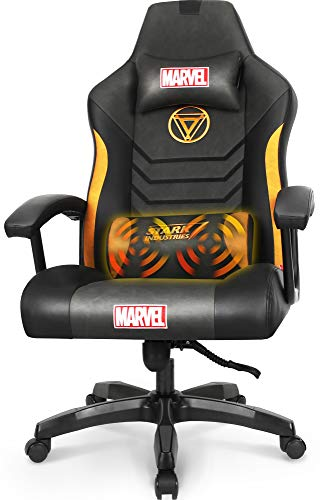 Marvel Avengers Gaming Chair Massage Office High Back Computer PU Leather Desk Chair PC Racing Executive Ergonomic Adjustable Swivel Task Chair Headrest and Lumbar Support (Iron Man, Black)