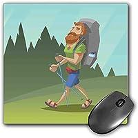 マウスパッドゲーム機能探検厚い防水デスクトップマウスマット男ひげの森を歩く漫画スタイルの野外活動テーマ、多色ノンスリップゴムベース