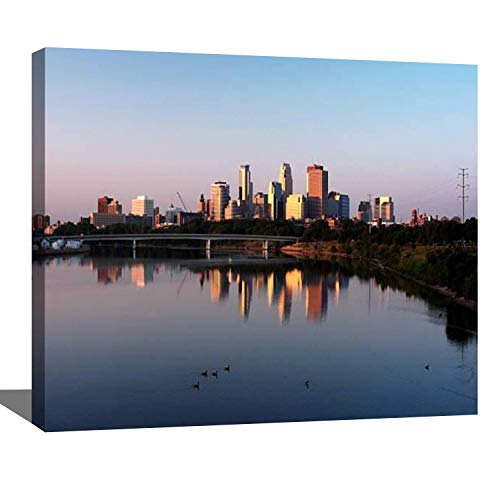 DIY Digital Oil Painting Set Minneapolis Skyline Sunrise View from The Window Paint by Numbers Kits for Adult Beginner Children Wooden Frame Art Craft for Home Wall Decor-16x20'