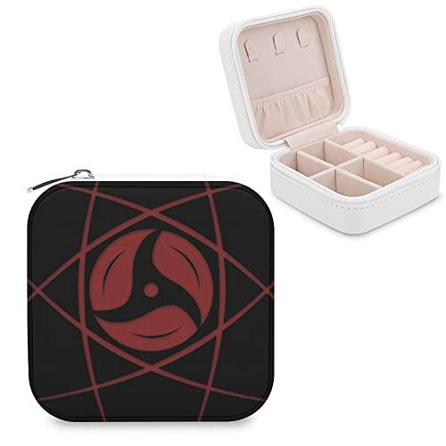 Naruto Uchiha Sharingan Joyero de piel sintética de viaje portátil, para collar, pendientes, pulseras, anillos, relojes, caja de almacenamiento para mujeres