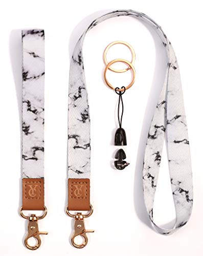 Lanyards Key Chain Holder Wrist Lanyard Badge Holder Lanyard Keychain Neck Straps Lanyard Premium Quality Wristlet Strap Cool Neck Lanyard (White marble)