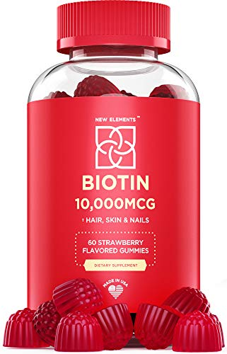 Biotin Gummies 10000mcg, Hair Skin and Nails Vitamins Made in USA, Chewable Hair Growth Supplement for Men & Women, Vegan, Pectin Based, Strawberry Flavor, Non-GMO, Gluten Free