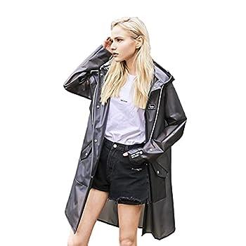 L-Rain Durable TPU Clear Rain Coat for Adults - Women and Men Fashion Hooded Rain Poncho - Black M