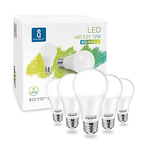 Aigostar - Bombilla LED A60 12W, Lámpara E27, 1020 lúmenes, Luz blanca fría 6400K, Ángulo 280º - Caja de 5 unidades