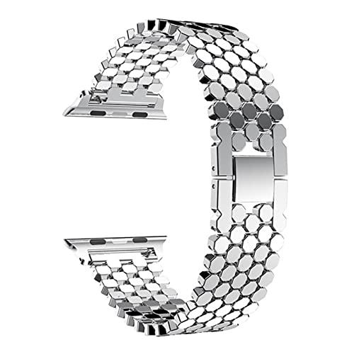 Correa deportiva de acero inoxidable para apple watch 5 4 bandas 44mm 40mm para iwatch 3/2/1 42mm 38m pulseira pulsera de eslabones metálicos cinturón-plata, 38mm-40mm