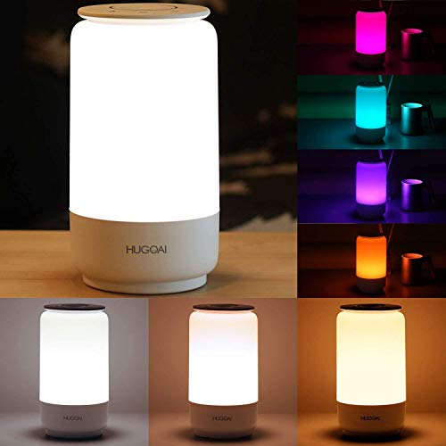 LED Lamps for Bedroom, HUGOAI Bedside Lamp, Tunable Warm to Cool White Lights, Dimmable Brightness and RGB Color Changing LED Table Lamps, Night Light Mode, White