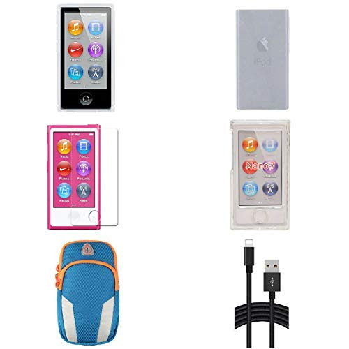 Aiboco 6 Accessories kit for iPod Nano 7 7th Generation Slim TPU Rubber Case Soft Clear Case Skin Clear Hard Case Charging Cord Sports Armband HD High Clear Screen Protector (Clear)