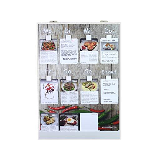 Rogge´s RelaxGrill CookPins D4 Essensplaner mit 125 Rezeptkarten, wandhängend, Speiseplan, Menütafel, Essensplan, Rezeptkarten, Kochrezepte, Rezepttafel, Kochtafel, Kochbuch, Dekoration Küche