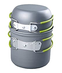RioRand Portable Cookware Backpacking Bowl Pot Pan Cooking Kit
