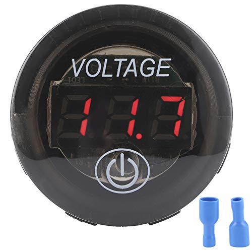 DyAn Medidor De Voltaje De Voltaje De Voltaje Digital Universal Led DC Medidor De Batería De Automóvil 12-24v con Interruptor Táctil, Rojo