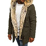 Men's Windproof Down Cotton Coat Warm Jacket,Mens Thicken Cotton Parka Jacket Warm Coat Windbreaker Winter Fashionable Army Green