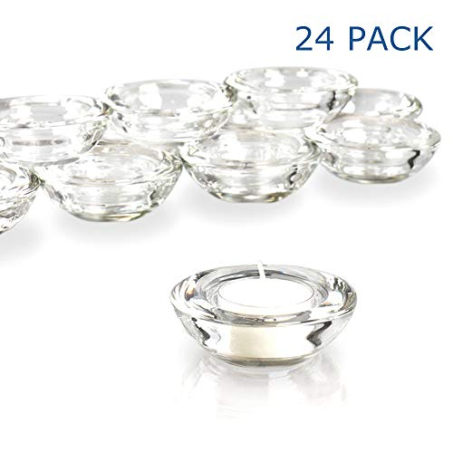 Elivia Clear Tealight Candle Holders - Set of 24, Round Chunky Glass Candle Holder, 3' Diameter